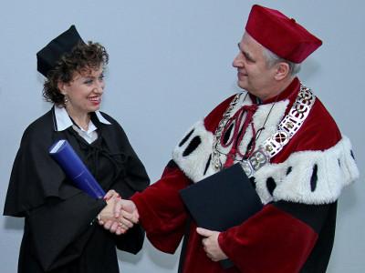Dr Aneta Czerska z Prorektorem UŚ dr hab. Mirosławem Nakoniecznym – 4.11.2014