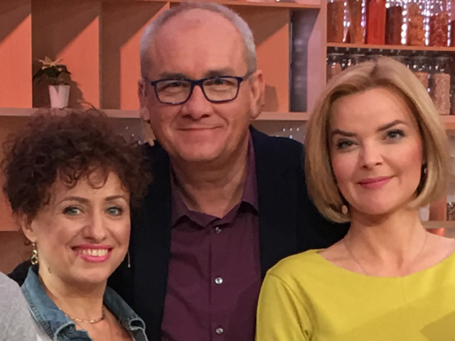 Dr Aneta Czerska z Michałem Olszańskim i Moniką Zamachowską (Richardson) na planie Pytania na śniadanie – Warszawa- 30.12.2016