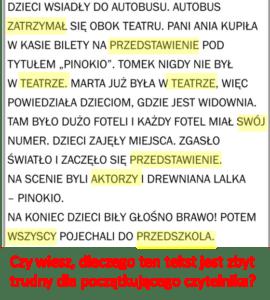 tekst doćwiczeń nauki czytania