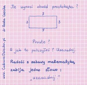 Uzdolnienia matematyczne Obwód Prostokąta Uzasadnij