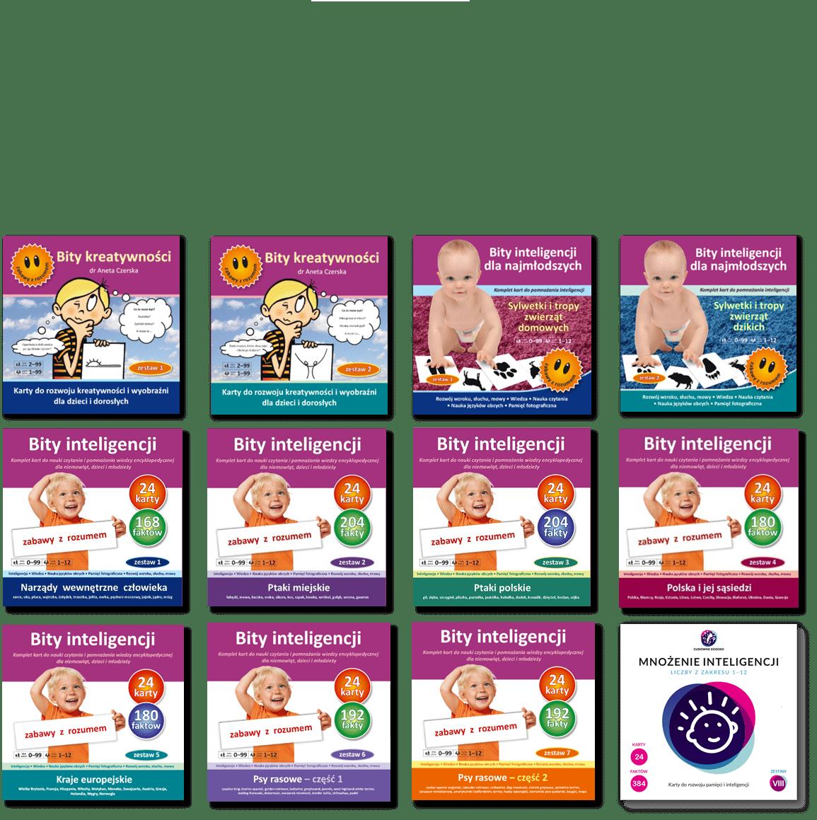 pakiet bity inteligencji karty do rozwoju kreatywności i karty kontrastowe do rozwoju wzroku