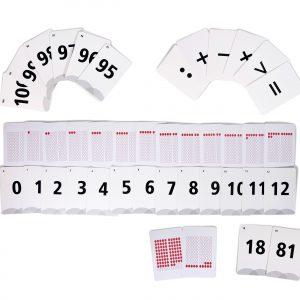 karty matematyczne z liczbami i z kropkami