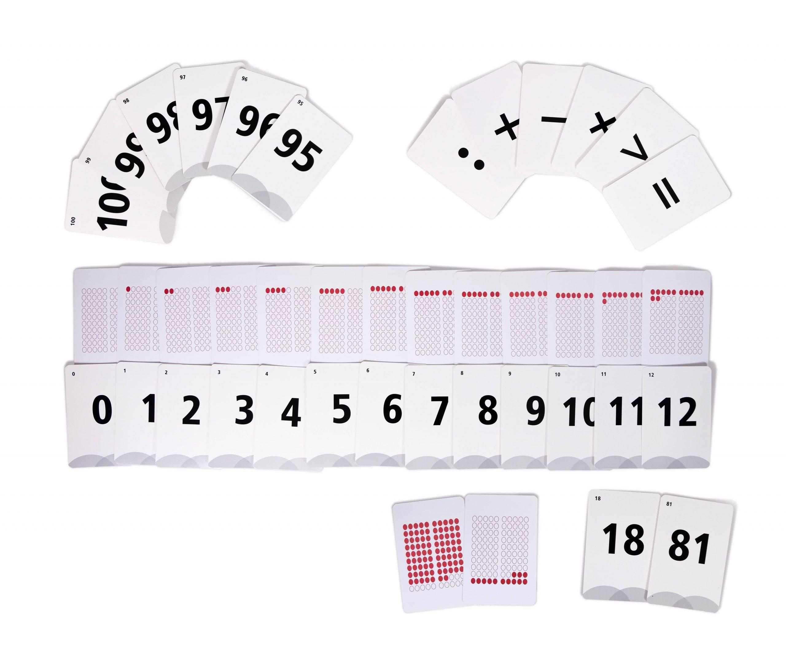karty matematyczne zliczbami izkropkami