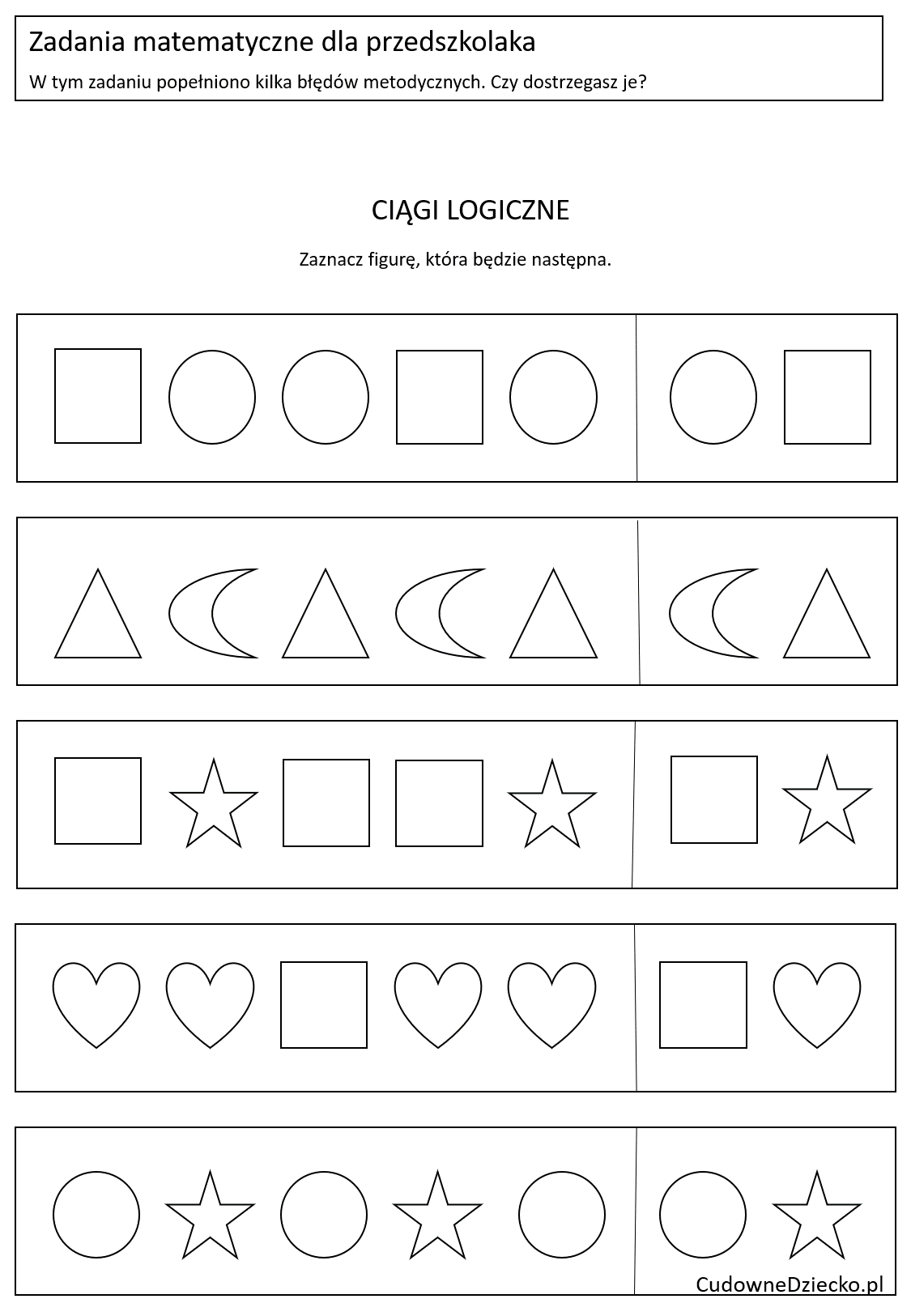 Zadania Matematyczne Dla Przedszkolaków Dziecko 4 Lata Figury Ciągi logiczne