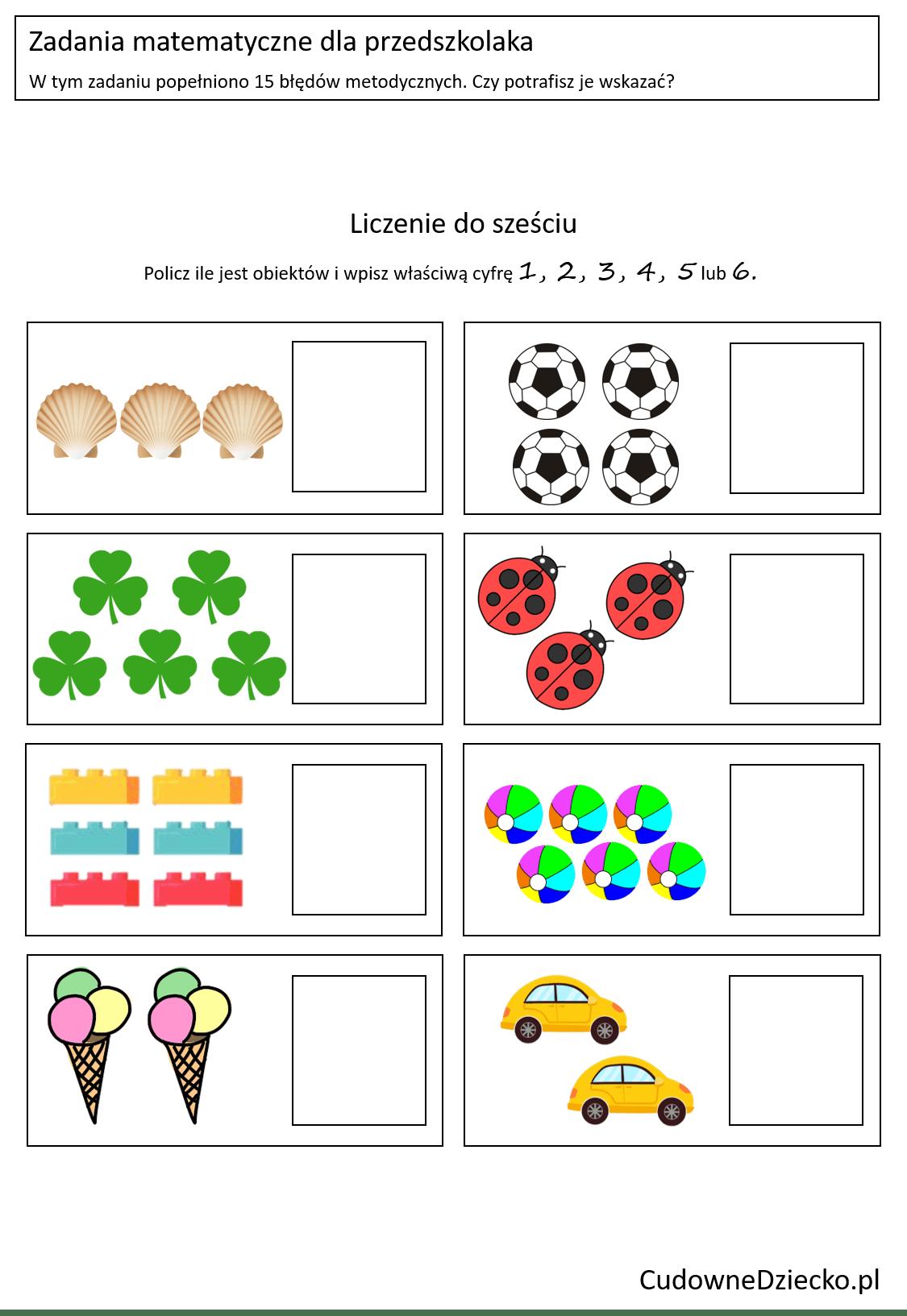 Zadania Matematyczne Dla Przedszkolaków Dziecko 4 Lata Liczby