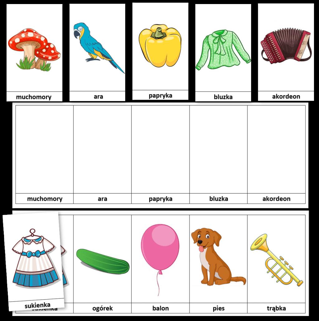 Karty DoRozwoju Pamięci Dla Dzieci Ilustracje Wyrazy