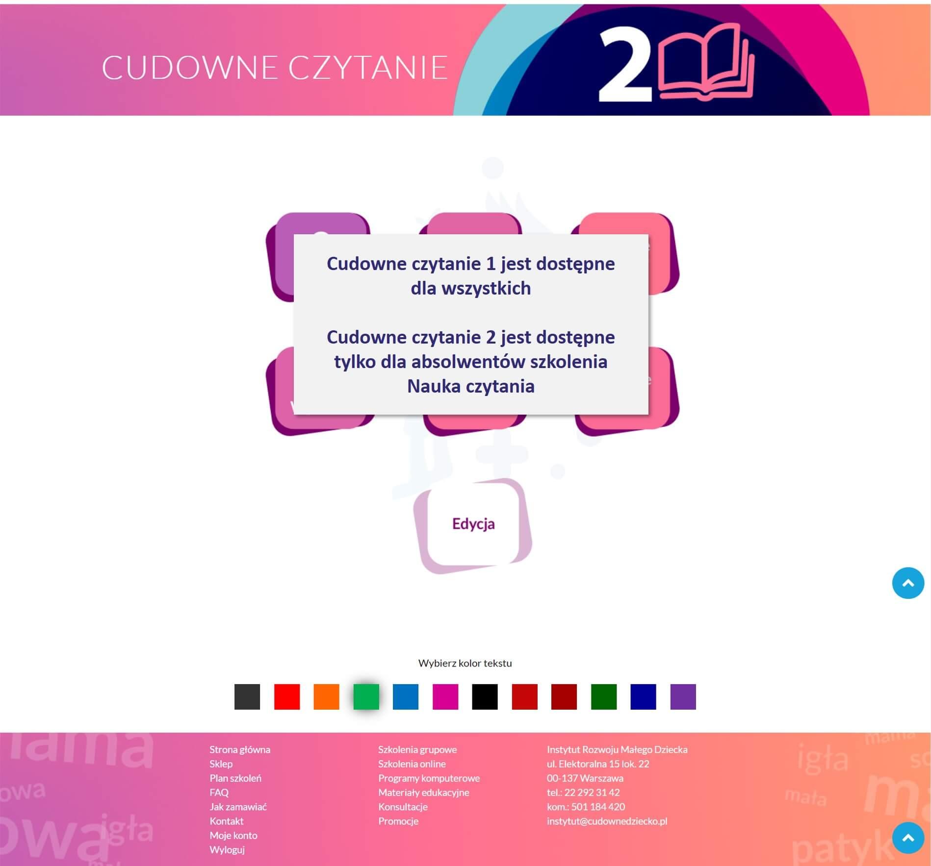program komputerowy donauki czytania cudowne czytanie 2 drAneta Czerska Cudowne Dziecko